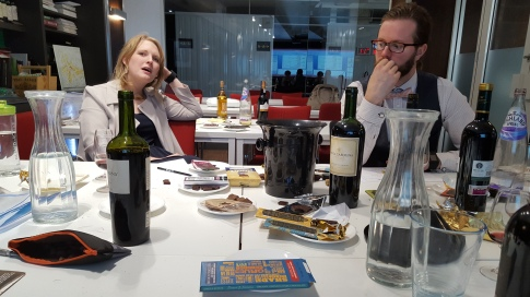 The team in deep thought about just which chocolate and wine to pair next...